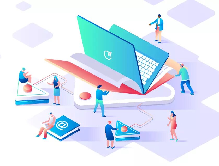 Isometric illustration - people working as proctors